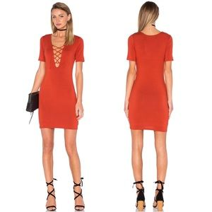 Delacy Revolve Carley Jersey Bodycon Lace Up Dress